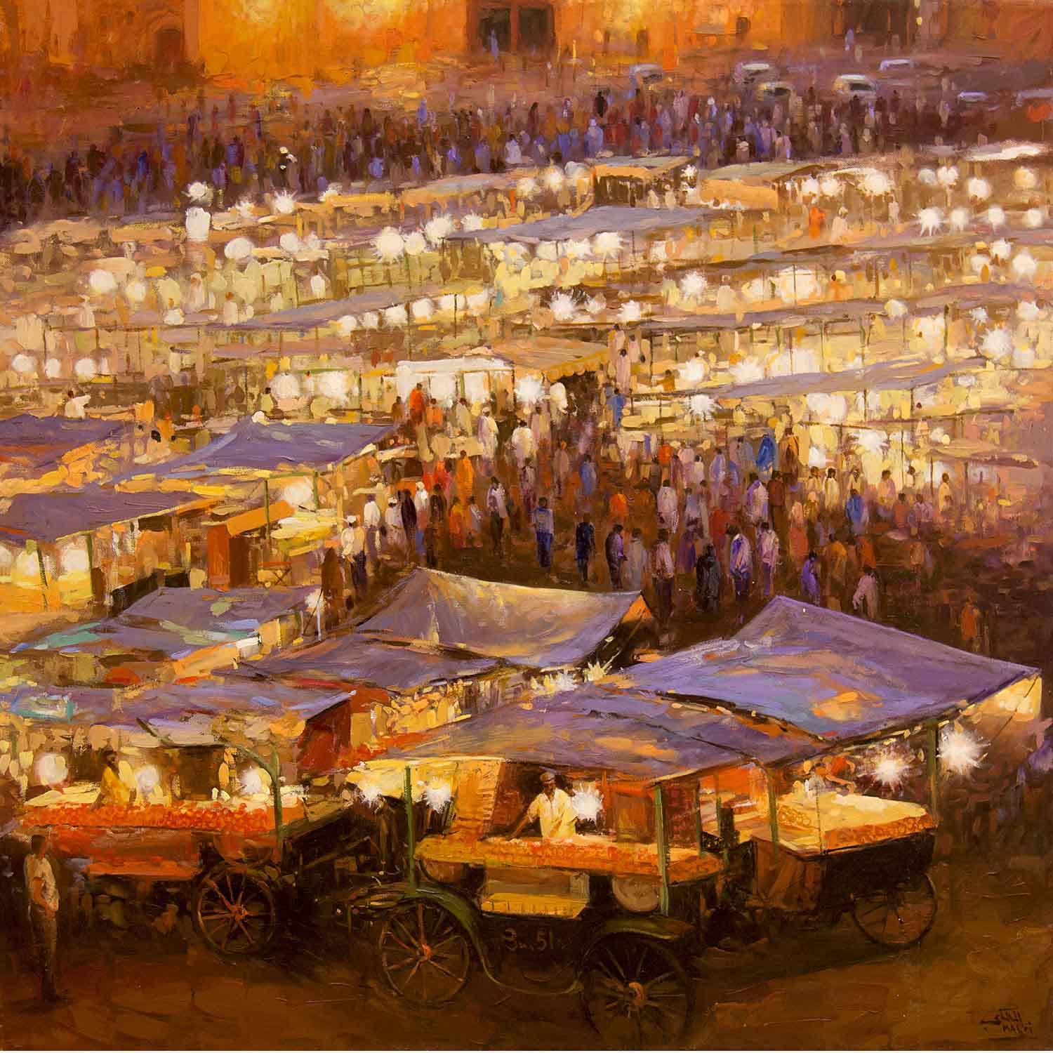 the place jemaa el fna in the night by ELMALKI